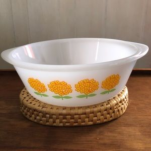 Vtg Glasbake Dish Floral Flower Orange Yellow Oval